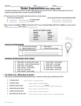 Spanish Tener Expressions free handout