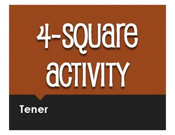 Spanish Tener Four Square Activity