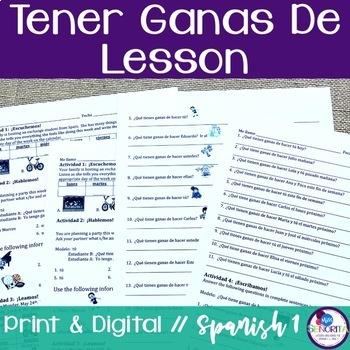 Spanish Tener Ganas De Lesson
