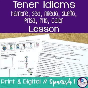 Spanish Tener Idioms Lesson - sed, hambre, prisa, miedo, s
