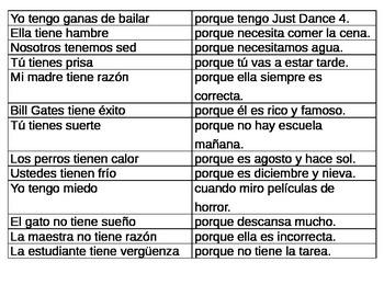 Spanish Tener Idioms Puzzle