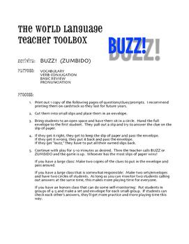 Spanish Tener Phrases Buzz Game