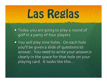 Spanish Tener Phrases Golf