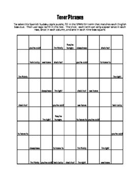 Spanish Tener Phrases Puzzle Pack