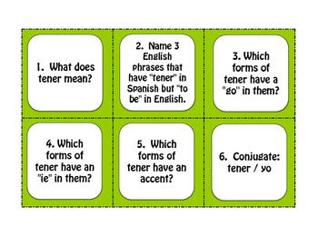 Spanish Tener Phrases Task Cards