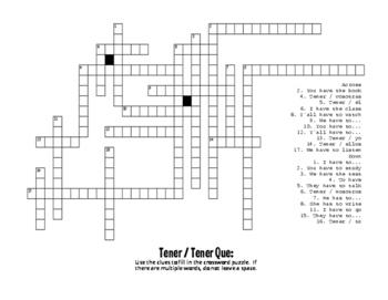 Spanish Tener Puzzle Pack
