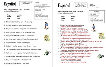 Spanish Tener Que + Infinitive Bundle of 3 Worksheets