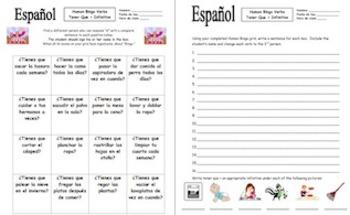 Spanish Tener Que + Infinitive & Chores Human Bingo Game Speaking Activity