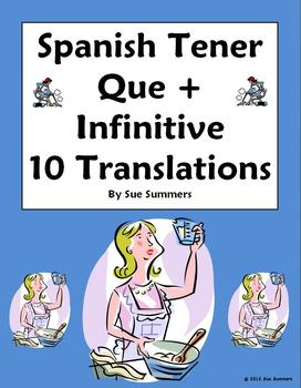 Spanish Tener Que + Infinitive Sentence Translations