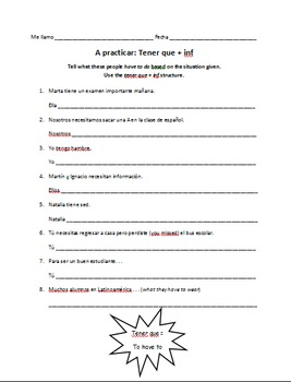 Spanish Tener Que + Infinitive Worksheet (Expressions with