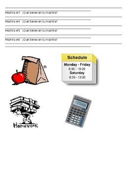 Spanish Tener/School Supply Activity