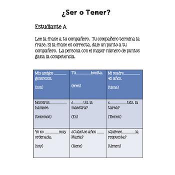 Spanish Tener Ser Paired and Group Speaking Activities