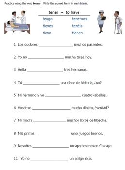 Spanish Tener Verb Worksheets
