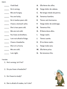 spanish tener verb worksheets by fran lafferty teachers pay teachers. Black Bedroom Furniture Sets. Home Design Ideas