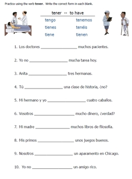 spanish tener verb worksheets by fran lafferty tpt. Black Bedroom Furniture Sets. Home Design Ideas