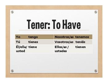 Spanish Tener Wall Charts