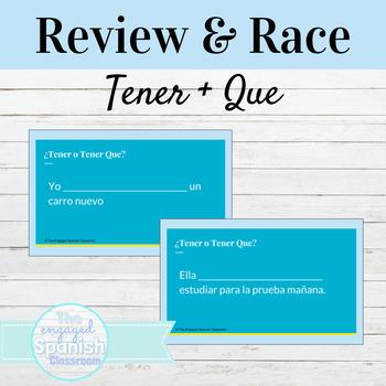 Spanish Tener vs. Tener Que Word Race activity