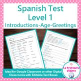 Spanish Test Level 1-Introductions, Greetings, Age-Digital & Printable Worksheet