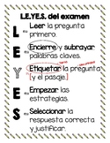 Spanish Test Taking Strategy Anchor Chart - LEyES