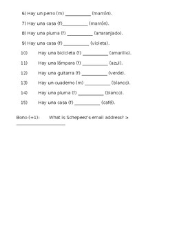 Spanish Test on Alphabet, Numbers (1-31), and Color Vocabulary and Agreement
