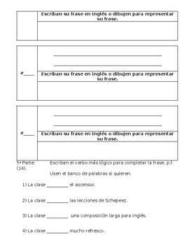 Spanish Test on -ER & -IR Verbs