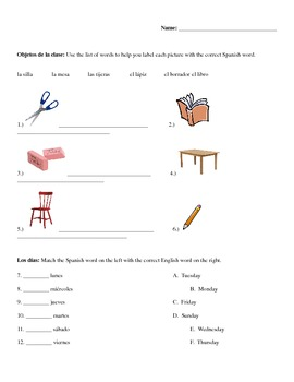 Spanish Test/Quiz- Classroom Objects, Days of the week, Family Vocab