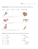 Spanish Test/Quiz- Classroom Objects, Days of the week, Fa