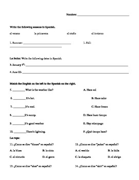 Spanish Test/Quiz- seasons,dates,weather,clothes,days,months,plurals, fem/masc