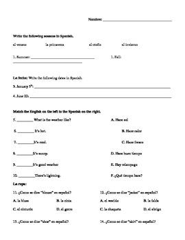 Spanish Test/Quiz- seasons,dates,weather,clothes,days,mont