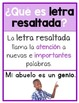 Text Features Classroom Posters in Spanish *First Grade*
