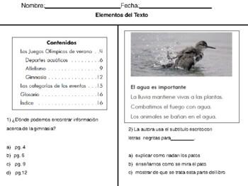 Spanish Text Features Quiz - Examen de los Elementos del Texto Informativo
