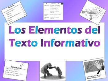 Spanish Text Features Quiz - Examen de los Elementos del T