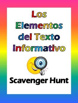 Spanish Text Features Scavenger Hunt - Elementos del Texto Informativo