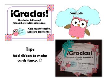 Spanish Thank You Notes - 200 FOLLOWER FREEBIE