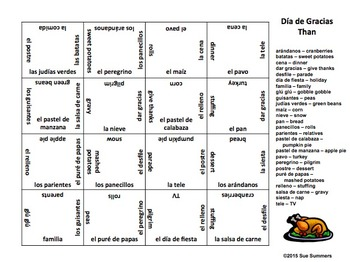 Spanish Thanksgiving 4 x 4 Matching Squares Puzzle
