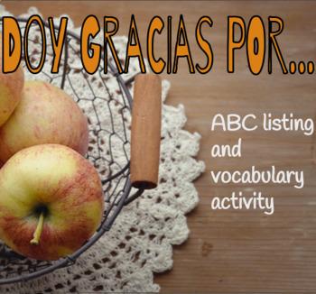 Spanish Thanksgiving ABC Activity, Doy gracias, Día de acción de gracias