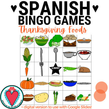 Spanish Thanksgiving Activities - Thanksgiving Food Bundle