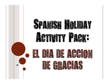 Spanish Thanksgiving Activity Pack