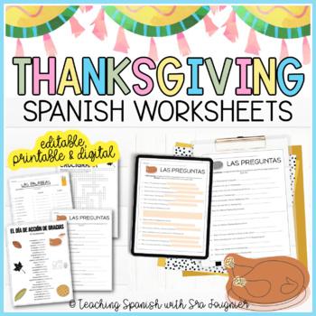 Spanish Thanksgiving Activity Packet - El Día de Acción de Gracias
