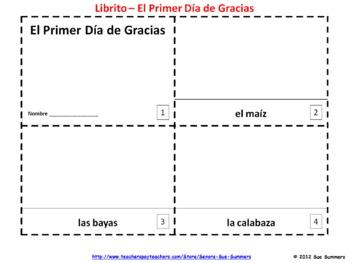Spanish Thanksgiving Booklets / Primer Dia de Gracias Libritos