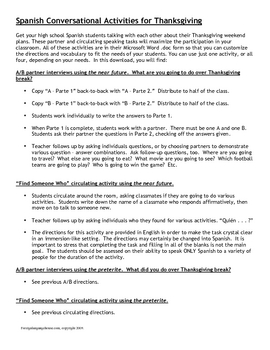 Spanish Thanksgiving Conversational Activities for Grades 6-12