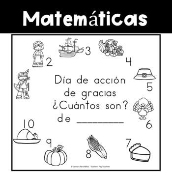 Spanish:  Thanksgiving Counting Book 1-10/ Cuenta cosas de