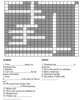 Spanish Thanksgiving Crossword