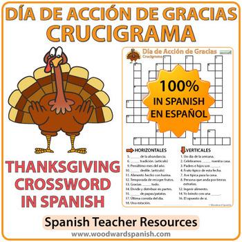 spanish thanksgiving crossword d a de acci n de gracias by woodward education. Black Bedroom Furniture Sets. Home Design Ideas