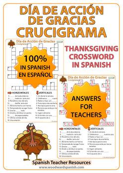 Spanish Thanksgiving Crossword - Día de Acción de Gracias