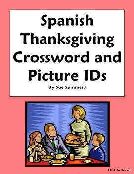 Spanish Thanksgiving Crossword , Picture IDs and Vocabulary List