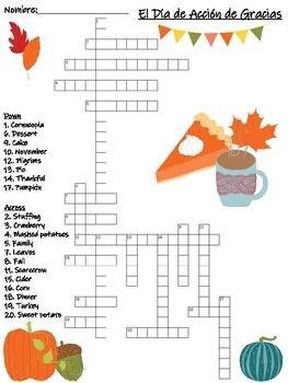 Spanish Thanksgiving / Día de Acción de Gracias Crossword