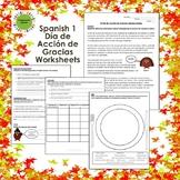 Spanish 1 Thanksgiving: Día de Acción de Gracias Worksheets