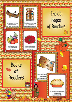 Spanish Thanksgiving Edible Non Edible Mini Guided Readers