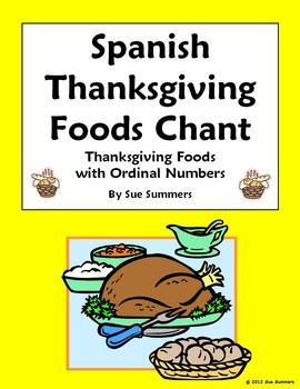 Spanish Thanksgiving Food and Ordinal Numbers Chant - Dia de Gracias